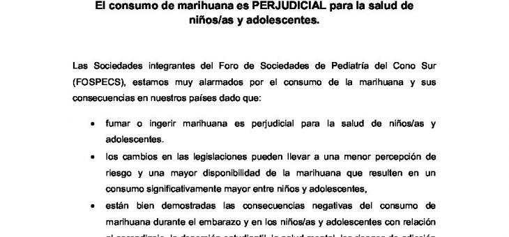 Declaración del Foro de las Sociedades de Pediatría del Cono Sur (FOSPECS) El consumo de marihuana es PERJUDICIAL para la salud de niños/as y adolescentes.